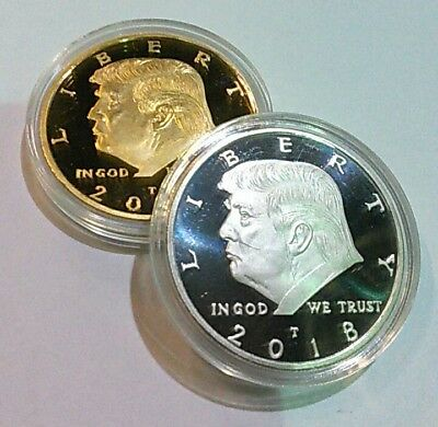 2 DONALD TRUMP 2018 Presidential 24K Gold Clad and 925 Silver Clad  Tribute Coin