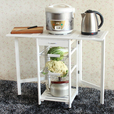 Folding Wood Stainless Steel Rolling Kitchen Island Trolley Cart Storage Shelf