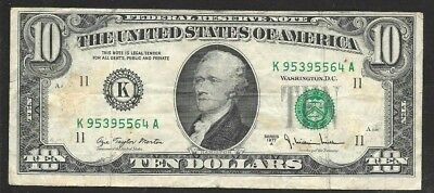 1977 USA $10 bank note  in used condition