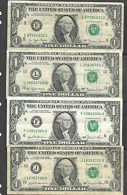 1977 USA $1 notes x 2 , 1981 x 2  in used condition