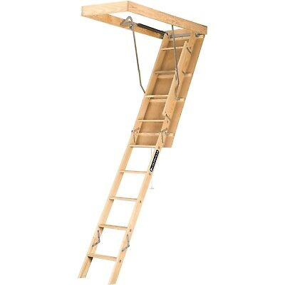 Louisville Ladder  7 ft. - 8 ft. 9 in. Wood Attic Ladder 250 lbs Load Step Easy