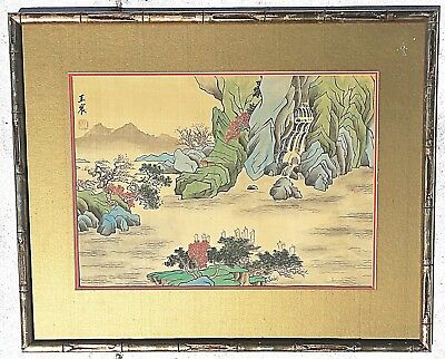 Old Vintage JAPANESE PAINTING ON SILK Beautiful signed and chop Mountains Ships