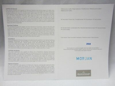 Jaeger LeCoultre Retail Stamped Dated Watch Guarantee Certificate Paper Document