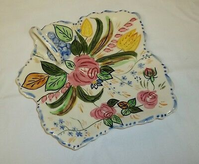 Vintage Blue Ridge Southern Pottery Hand Painted Verna Maple Leaf Cake Tray