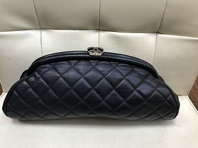 77011b77954fb2 CHANEL Authentic Lambskin Timeless Clutch Bag Black Quilted Leather Silver