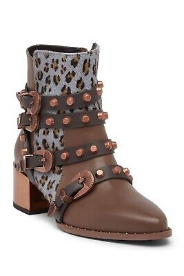 0a681b1d781d6 Ivy Kirzhner Circuit Tartufo Taupe Leather Cheeta Gold Buckle Strappy Stud  Boot