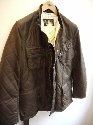 Barbour Men's Waxed Quilted International Jacket, Brown, Large, New With Tags