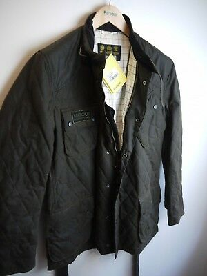 Barbour Men's Waxed Quilted International Jacket, Olive Green, Large,  NWT