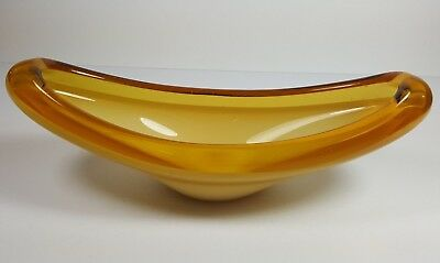 Murano Style Art Glass Gondola Shaped Bowl - White Cased In Deep Yellow
