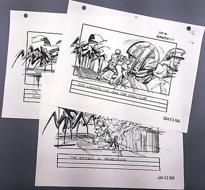 STARSHIP TROOPERS - Production Made Storyboard Sheet Lot - Phil Tippett 56-58