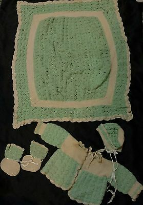 Vintage Hand Crocheted Baby/Doll Sweater And Blanket