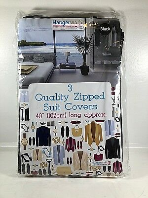 "3 Black Suit Garment Clothes Cover Protector Bags Zip 40"" New Travel Baggage"