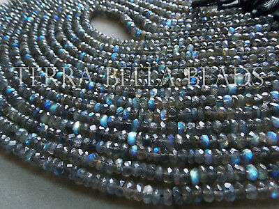 """14"""" AAA LABRADORITE faceted gem stone rondelle beads 5.5mm blue green"""