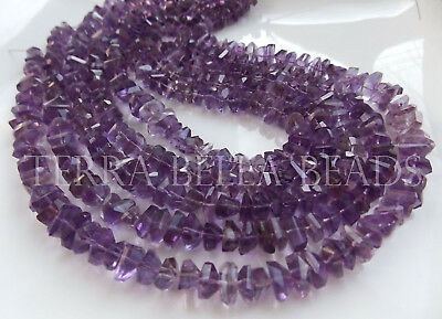 """7"""" strand PURPLE AMETHYST faceted gem stone nugget beads 7mm - 8mm"""