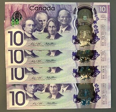 CONSECUTIVE CRISP 4 of 2017 CANADA TEN DOLLAR BILL CANADIAN 10 DOLLARS NOTE  UNC