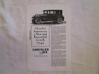 1925 Chrysler Six Coach Original Print Ad from June 1925