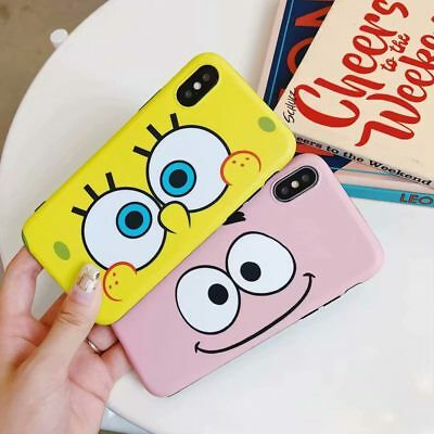 Soft Silicone Cartoon SpongeBob Phone Case Cover For iPhone XS Mas XR 6 7 8 plus