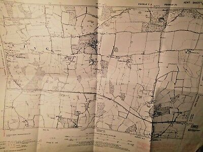 """Kemsing,st Clere, Ightham Court-Holmesdale, Kent 1866-1945 Planner's Map 6""""scale"""