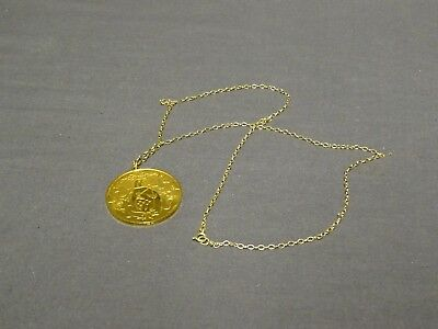 "Vintage Gilt Sterling Silver John Pinches True Love Pendant On 24"" Chain"