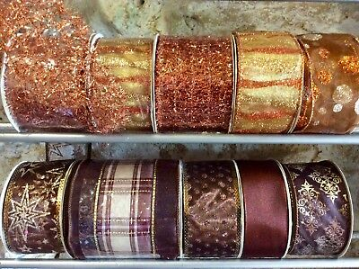 10 Rolls Copper Christmas Ribbon Bundle Trees Wreaths Wholesale Job Lot Wrapping