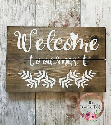 Welcome to Our Nest Welcome Sign Rustic Wooden Farmhouse Shabby Chic