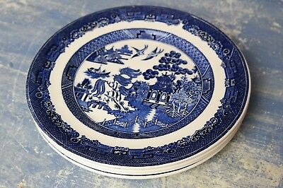 """(4)Johnson Brothers Blue Willow 8 1/2"""" Dinner Plates"""