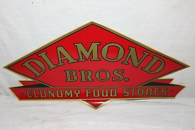 "Vintage 1937 Diamond Bros. Food Stores Grocery Store Gas Oil 23"" Window Sign"