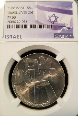1966 Israel Silver 5 Lirot Israel Lives On Ngc Pf 63 Early Date Bright Coin
