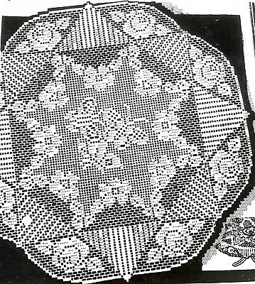 2029 Vintage 1939 LW Filet BUTTERFLIES/ROSES CLOTHS Pattern To Crochet (Repro)