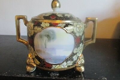 Antique NIPPON MORIAGE Hand Painted Footed COVERED SUGAR BOWL LAKE SCENE
