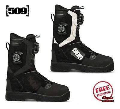 509 Raid Boa Snowmobile Boots Black White Waterproof Insulated Breathable