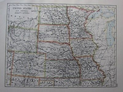 1904 Map ~ United States North West Central Nebraska Dakota Kansas Iowa