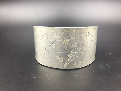 WW2 Era U.S. Military Trench Art Aluminum Cuff Bracelet 1946 Guam