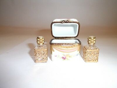 Peint Main Limoges Trinket-Tall Chest Box With Removable Perfume Bottles