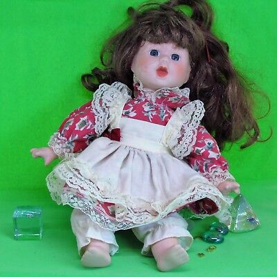 "Vintage 1990's Porcelain Doll Hand Crafted Artmark  12"" Lace Dress"