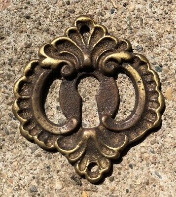 Antique VICTORIAN Escutcheons ORNATE Brass Key Hole Cover Furniture Hardware
