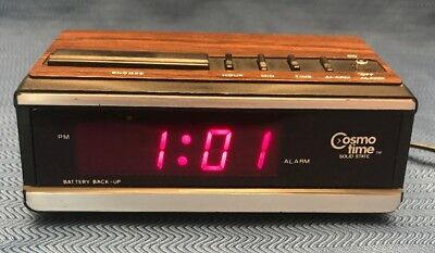 Vintage Solid State LED Alarm Clock Cosmo Time E517A Wood Snooze Battery Backup