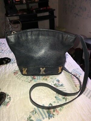 c12cf57a54ee BY PALOMA PICASSO Black Leather Handbag Shoulder Bucket Purse Made In Italy