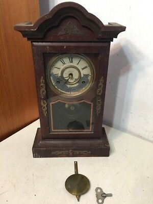 Antique New Haven Parlor Or Kitchen Mantle Clock With Brass Trim