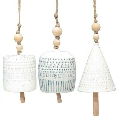 Set Of 3 Ava Hanging Bell Hanger Chime Hanging Sign Decor Stone Natural 8X10Cm