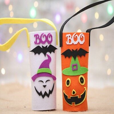 Halloween Wine Bottle Bag Cover Pumpkin Ghost Pattern Non Woven Party Decor MS
