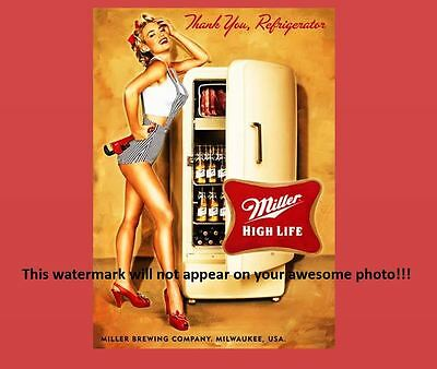 Miller High Life Beer Ad Girl PHOTO,Fridge Bar Sign Vintage Design Advertisement