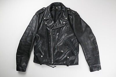 b62791f05 SCHOTT PERFECTO VINTAGE Mens Black Leather Motorcycle Jacket Size 38