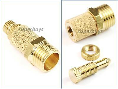 "1/4"" BSP Adjustable Brass Pneumatic Silencer Muffler Exhaust Valve Fitting Vent"