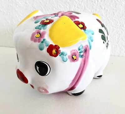 Large Ceramic Piggy Bank White Pink Yellow Bow Floral Flower Vtg Mid Century