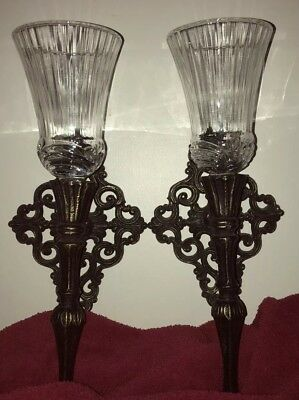 """Vintage Pair """"Old World"""" Ornate Metal Wall Sconces Candle Holders"""