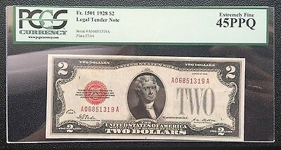 $2 Series 1928 United States Note / Pcgs 45 Ppq Extremely Fine Xf