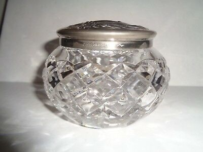 WATERFORD Crystal  TRINKET JAR / BOX with Silver Plated Lid