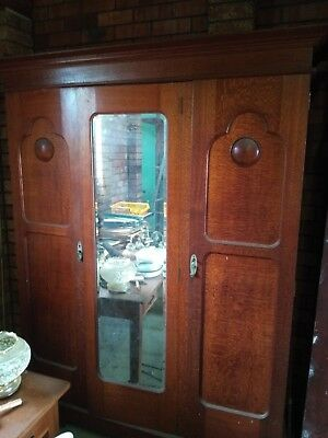 Solid Antique Wardrobe - Silky Oak Timber - With centre mirror
