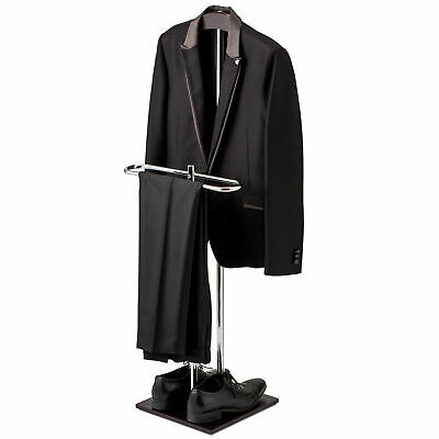 Wood & Metal Suit Valet Floor Stand/ Garment Organizer Rack/ Coat & Pants Hanger